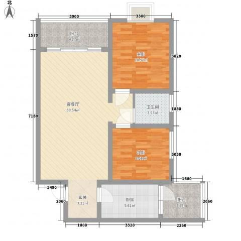 海滨花园2室1厅1卫1厨98.00㎡户型图