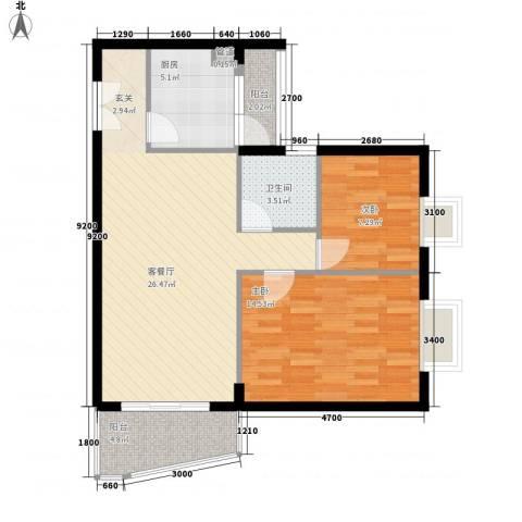 世纪新潮2室1厅1卫1厨90.00㎡户型图