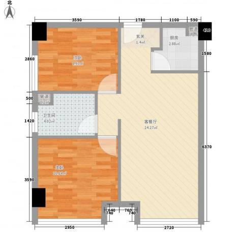 滨江国际商业广场2室1厅1卫1厨73.00㎡户型图