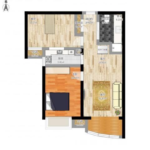 北京城建·世华泊郡1室1厅1卫1厨90.00㎡户型图