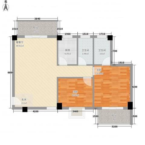 绿苑水岸名筑2室1厅2卫1厨72.70㎡户型图