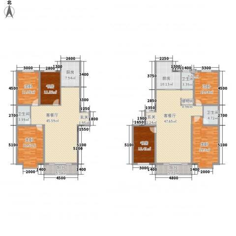 鑫丰国际6室2厅3卫2厨221.83㎡户型图