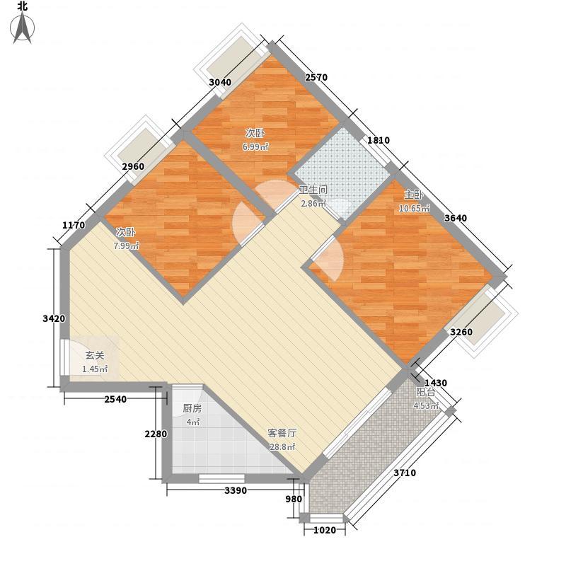煌泰城户型图6#/7#/8#楼05户型 3室2厅1卫1厨