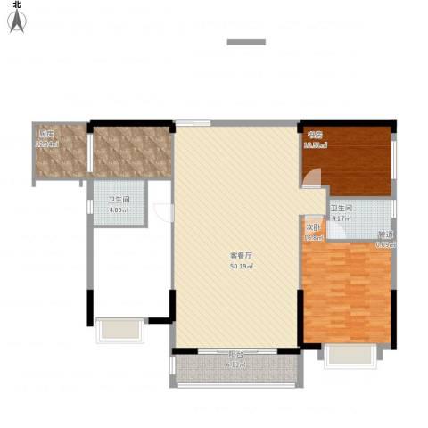 珠光新城御景2室1厅2卫1厨143.00㎡户型图