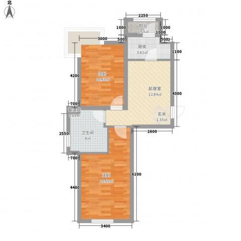 咖啡小镇2室0厅1卫1厨76.00㎡户型图