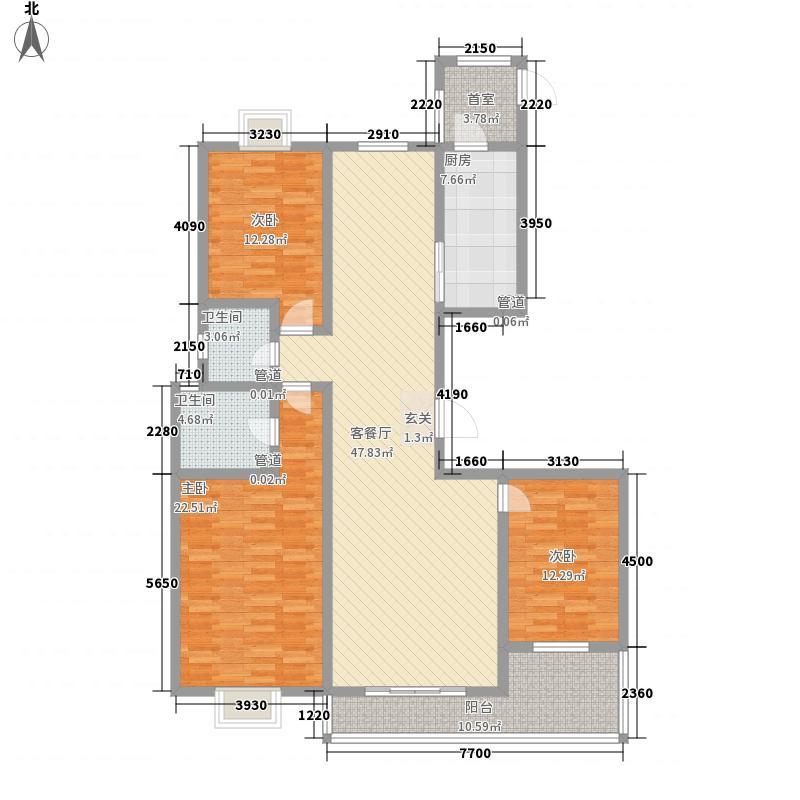 水庭世家178.74㎡E户型3室2厅2卫1厨