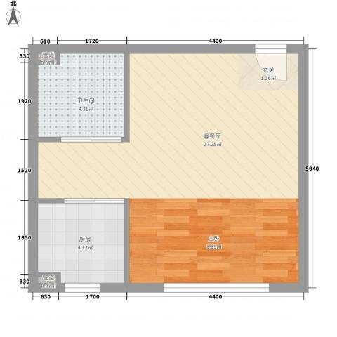 檀香湾1厅1卫1厨50.00㎡户型图