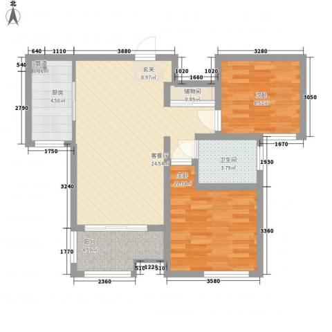 中海国际社区公园道2室1厅1卫1厨88.00㎡户型图
