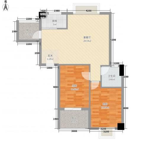 龙泉华庭2室1厅1卫1厨96.00㎡户型图
