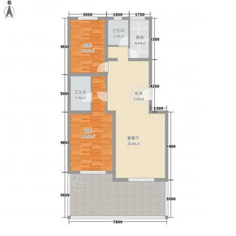 农机大院2室1厅2卫1厨143.00㎡户型图