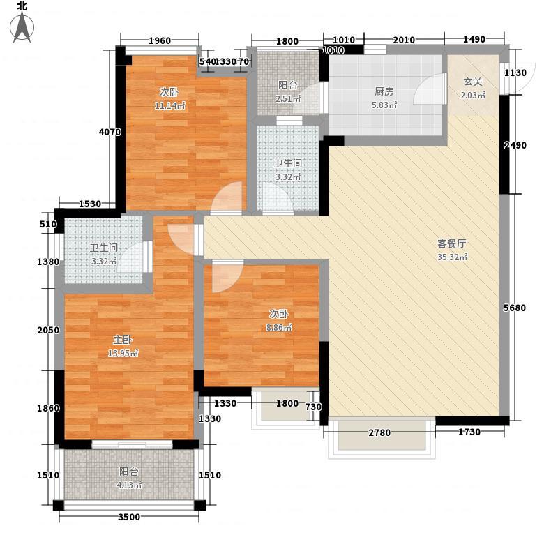 铂金时代117.57㎡铂金时代户型图三批次中庭楼王C23室2厅2卫1厨户型3室2厅2卫1厨