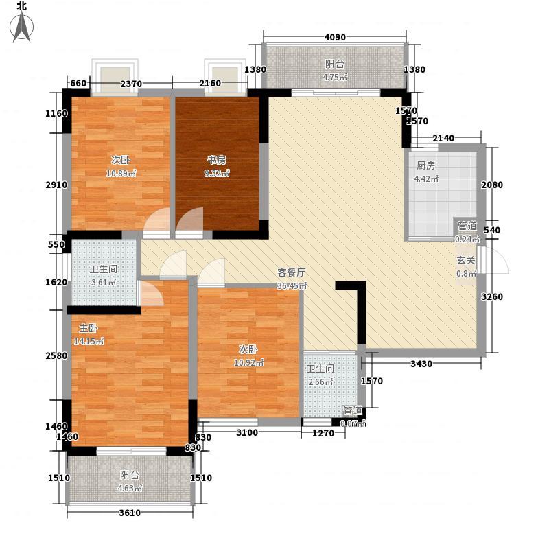 金山广场住宅146.00㎡户型3室