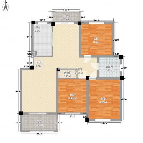 新港名兴花园3室1厅1卫1厨123.00㎡户型图