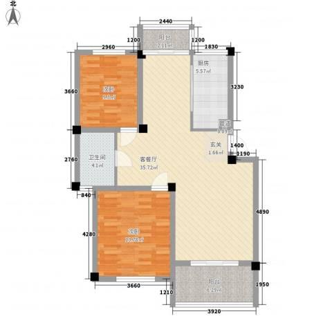 新港名兴花园2室1厅1卫1厨96.00㎡户型图