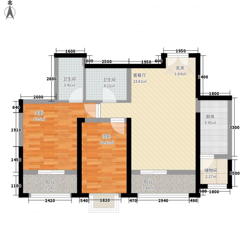 桃花苑两室两厅两卫户型2室2厅2卫1厨