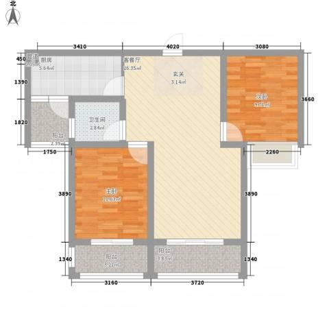2009庄园2室1厅1卫1厨95.00㎡户型图