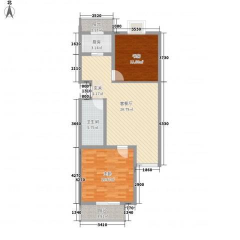 御景苑2室1厅1卫1厨99.00㎡户型图