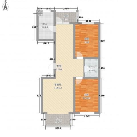 东皇先锋2室1厅1卫1厨104.00㎡户型图