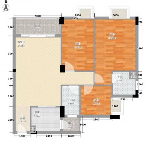 东晓华庭3室1厅2卫1厨113.00㎡户型图