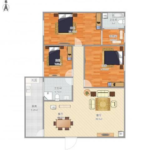 月亮湾花园3室1厅2卫1厨130.00㎡户型图