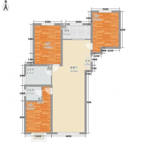 奈伦和兴园3室1厅2卫1厨131.00㎡户型图