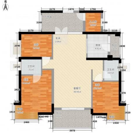 钰海山庄3室1厅2卫1厨133.00㎡户型图
