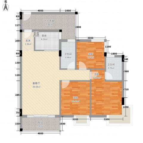 东晓华庭3室1厅2卫1厨124.00㎡户型图