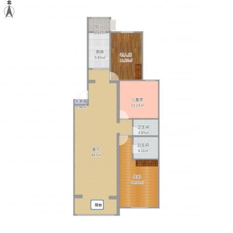 龙锦苑东一区3室1厅2卫1厨125.00㎡户型图