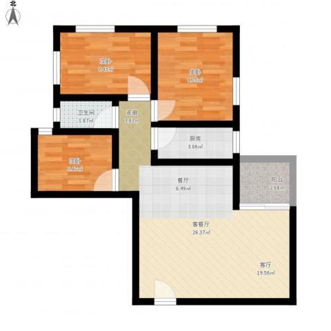 朝晖苑3室1厅1卫1厨82.00㎡户型图
