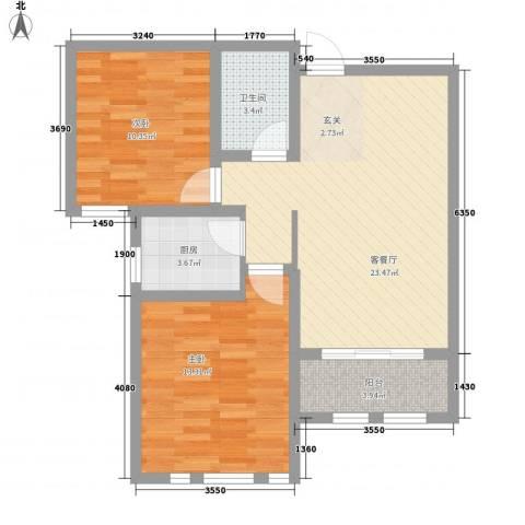 德仁・翡翠城2室1厅1卫1厨87.00㎡户型图