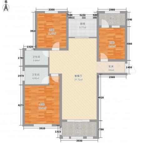 德仁・翡翠城3室1厅2卫1厨97.56㎡户型图