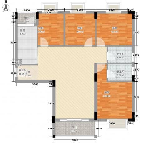 东晓华庭4室1厅2卫1厨136.00㎡户型图