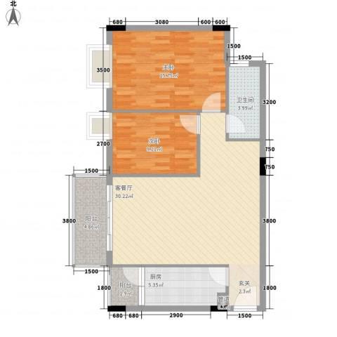 东晓华庭2室1厅1卫1厨99.00㎡户型图