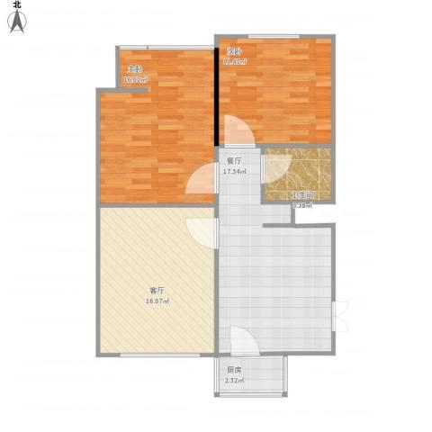 沙铁村2室2厅1卫1厨90.00㎡户型图