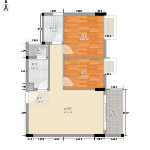 东晓华庭2室1厅1卫1厨83.00㎡户型图