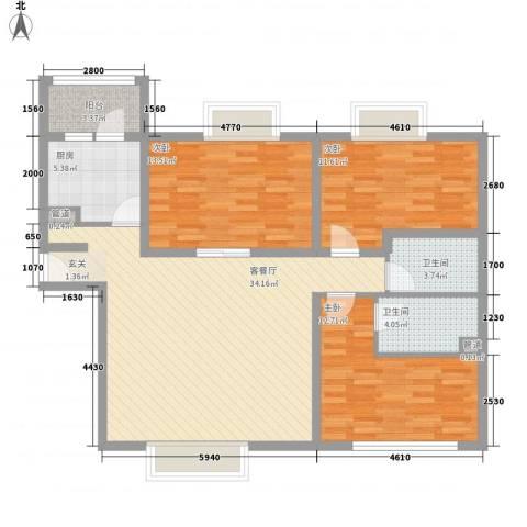 五洲花城澳洲园3室1厅2卫1厨127.00㎡户型图