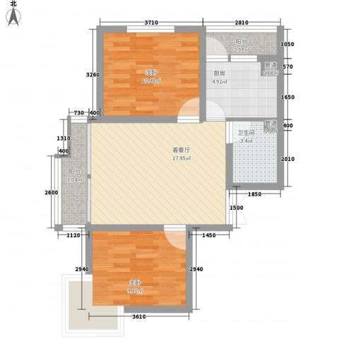 时代广场2室1厅1卫1厨75.00㎡户型图