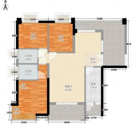 钰海山庄3室1厅2卫1厨128.00㎡户型图
