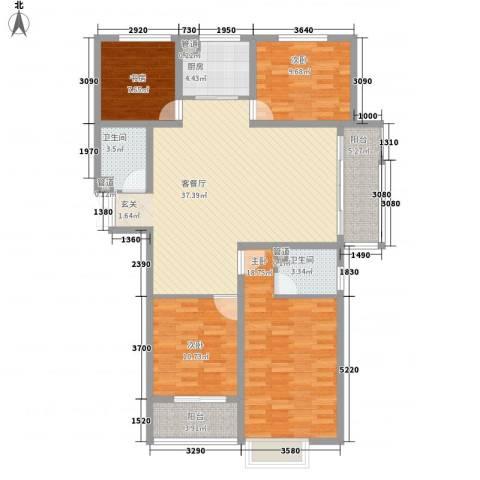 时代广场4室1厅2卫1厨152.00㎡户型图