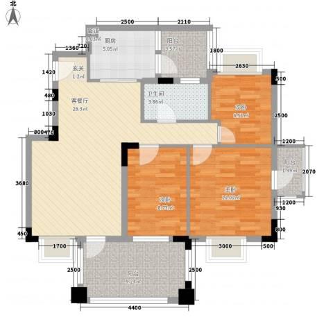 五洲康城3室1厅1卫1厨77.29㎡户型图