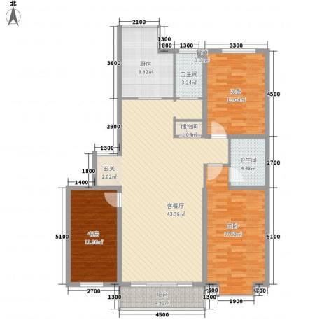 鑫丰国际3室1厅2卫1厨135.00㎡户型图