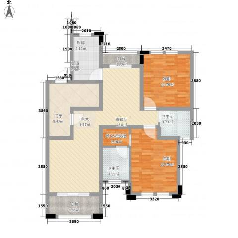 浅水湾恺悦名城2室1厅2卫1厨122.00㎡户型图