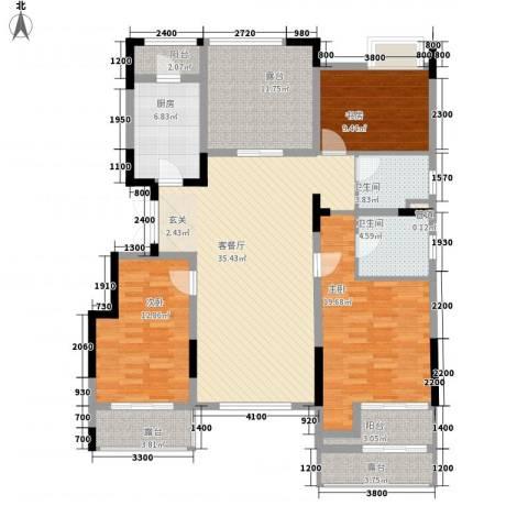 紫玉山庄3室1厅2卫1厨125.00㎡户型图