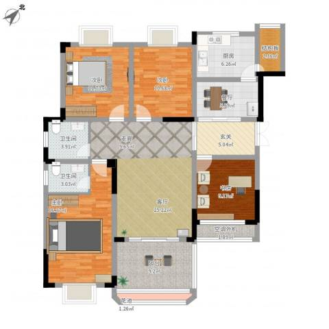 英豪永和春天4室2厅2卫1厨131.00㎡户型图