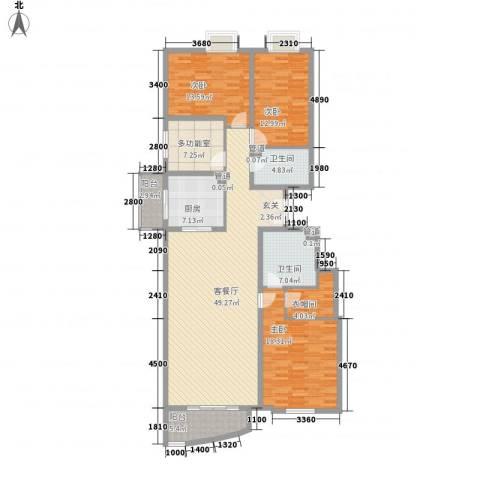 观景园3室1厅2卫1厨170.00㎡户型图