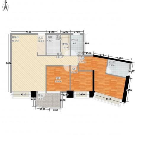 日月光中心伯爵居3室1厅2卫1厨136.00㎡户型图