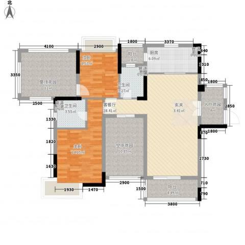 富恒浅水湾2室1厅2卫1厨104.00㎡户型图