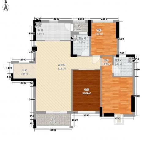 富恒浅水湾3室1厅2卫1厨114.00㎡户型图