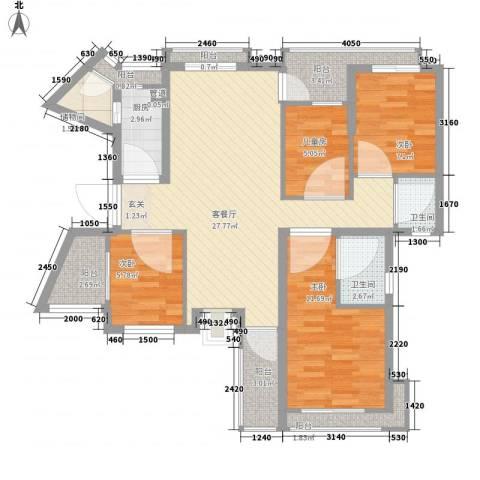 东泰花园裕华苑4室1厅2卫1厨115.00㎡户型图