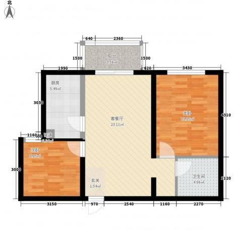 车城小区2室1厅1卫1厨83.00㎡户型图